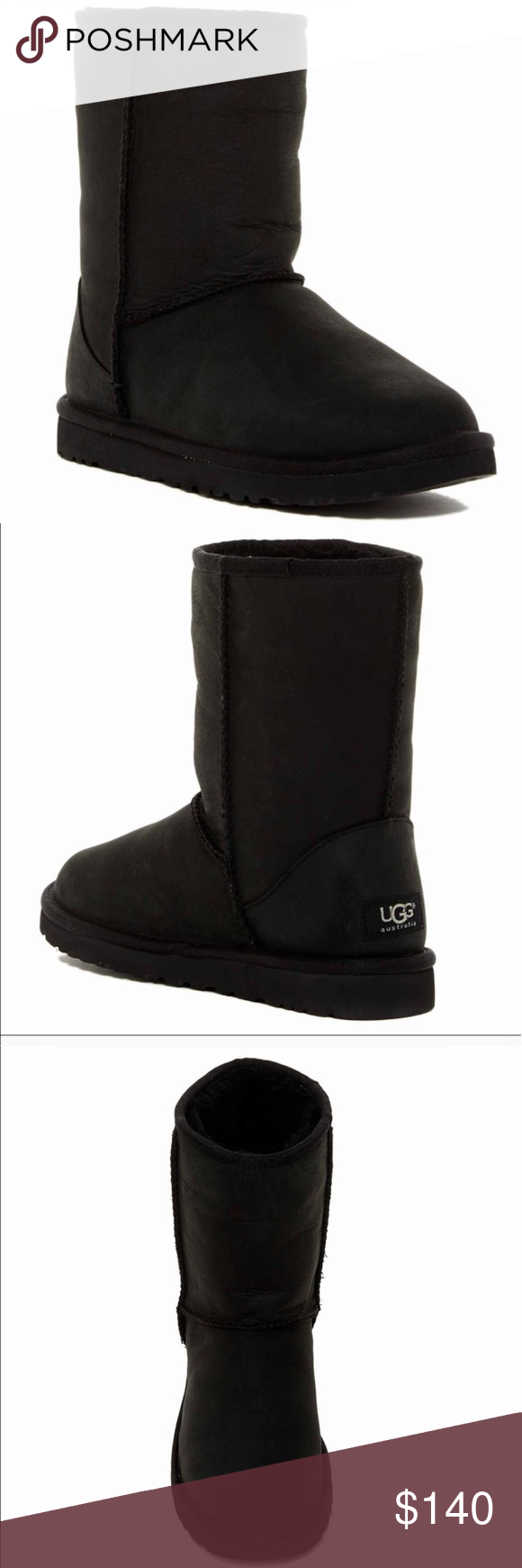 176109d2cd35 Authentic classic short black leather UGG boots Brand new in box Authentic classic  short black leather UGG boots UGG Shoes Winter   Rain Boots
