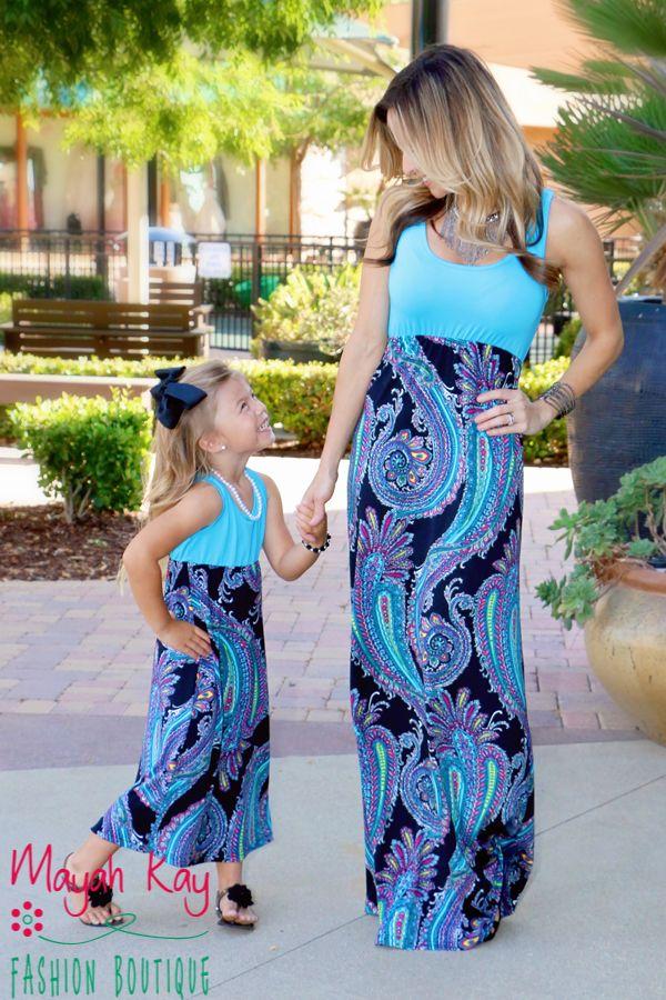 5dcdfc98d05f Mommy & Me Aqua & Black Maxi Dress - Toddlers & Girls - Mayah Kay ...