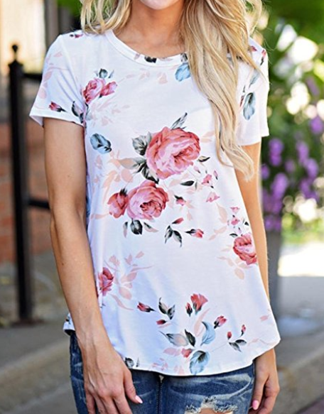 Mikey Store Women Short Sleeve Floral Printed Blouse Casual Tops T Shirt