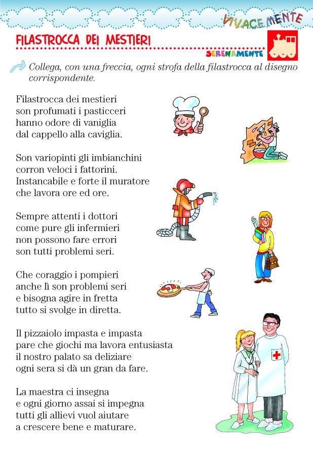 Mestieri Con La L.Filastrocca Sui Mestieri Poster Imparare L Italiano