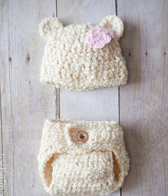 Crochet Hat Pattern Newborn Bear hat AND Diaper by LeeBeeDees | Baby ...