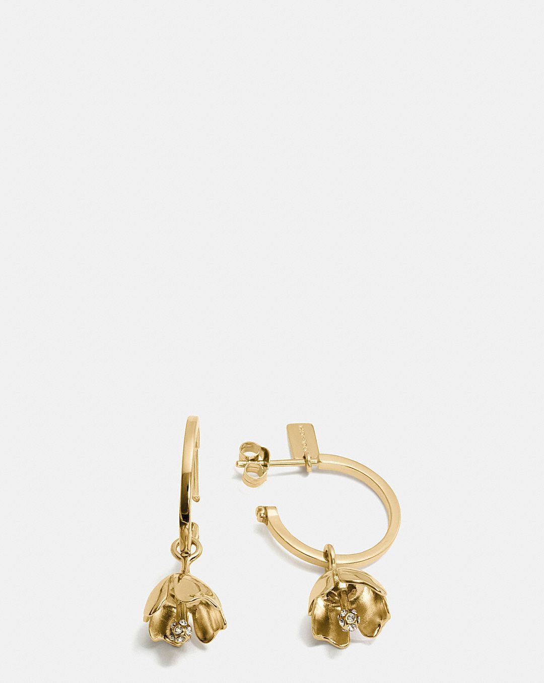 Coach Tea Rose Glitter Earrings Purple/silver fiuHGOTgA