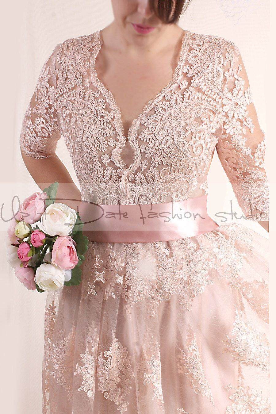 Plus Size Lace short/ blush pink wedding party / lace dress with ...