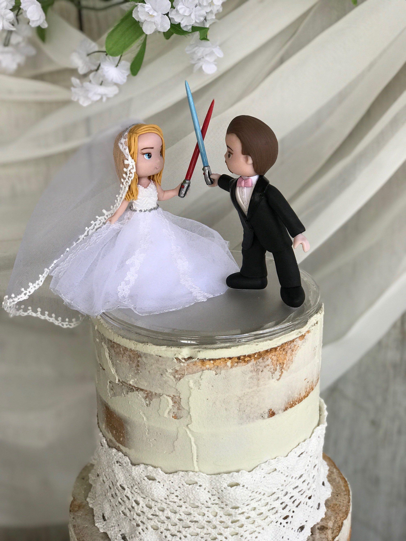 Custom handcrafted wedding cake topper star wars wedding