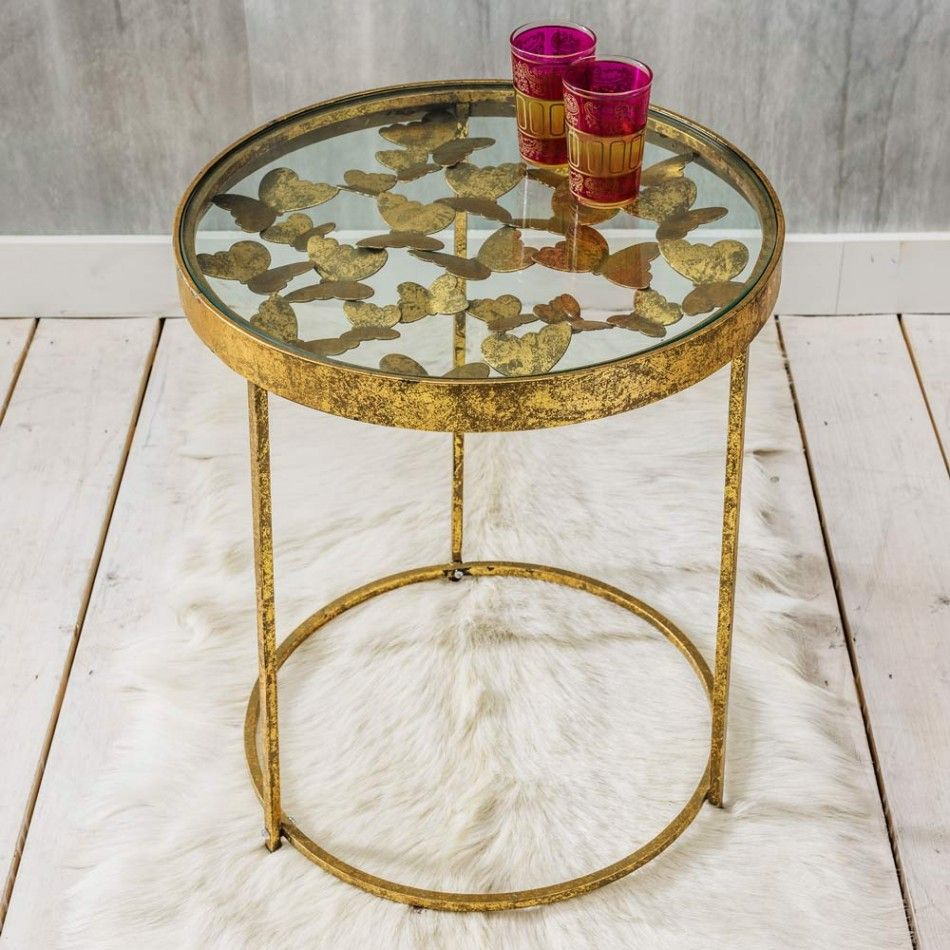 Gold Butterfly Side Table, Graham U0026 Green