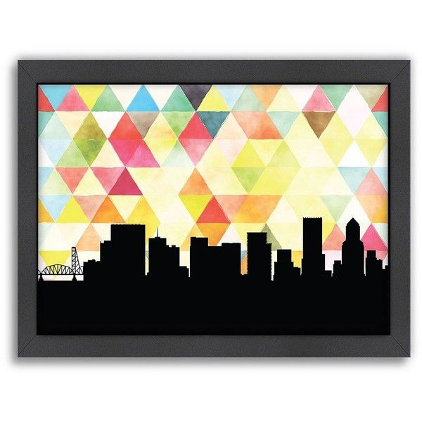Americanflat PaperFinch Portland Skyline Framed Wall Art ($66 ...