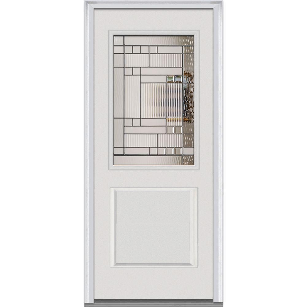 Milliken Millwork 36 In X 80 In Kensington Decorative Glass 1 2 Lite 1 Panel Primed White Fiberglass Smooth Prehung Steel Doors Exterior Millwork Glass Decor