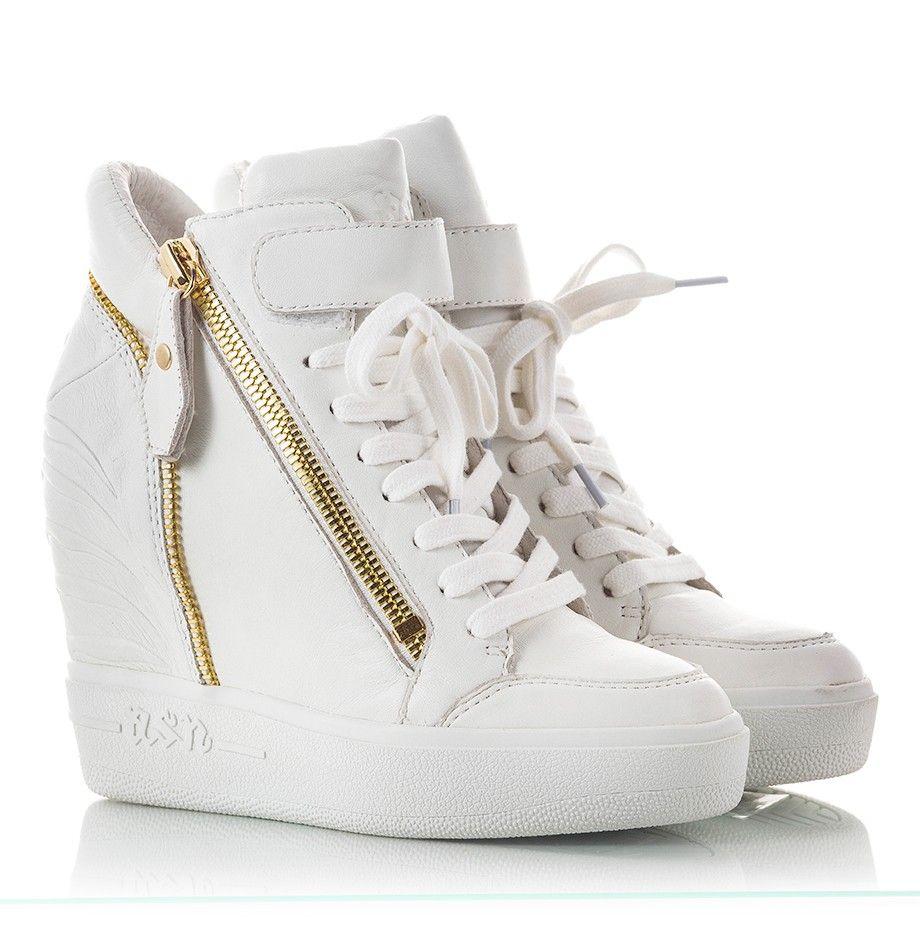 Ash ALFA White nappa leather high wedge heel sneakers | Fratelli ...