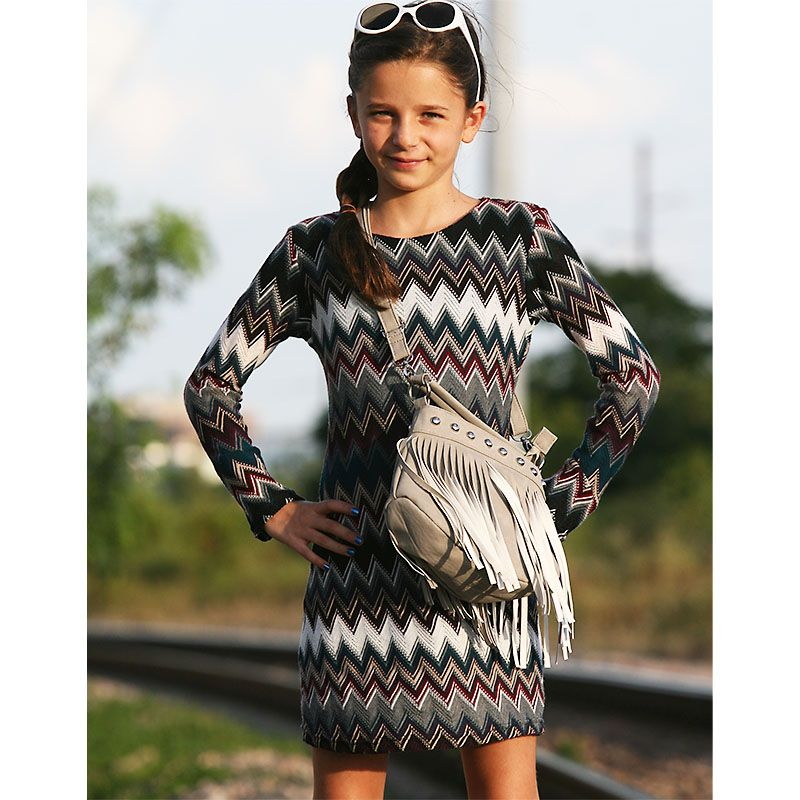 Izzy And Ash Les Tout Pe Long Sleeve Missoni Print Dress 88 Up To Size