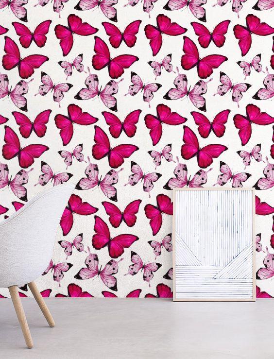 Hot Pink Butterfly Wallpaper Removable Self Adhesive Nursery Wallpaper Modern Wall Decor Wallcovering Jw112 Butterfly Wallpaper Washable Wallpaper Nursery Wallpaper