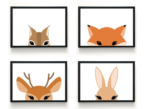 Woodland Animal Prints By Black Boo