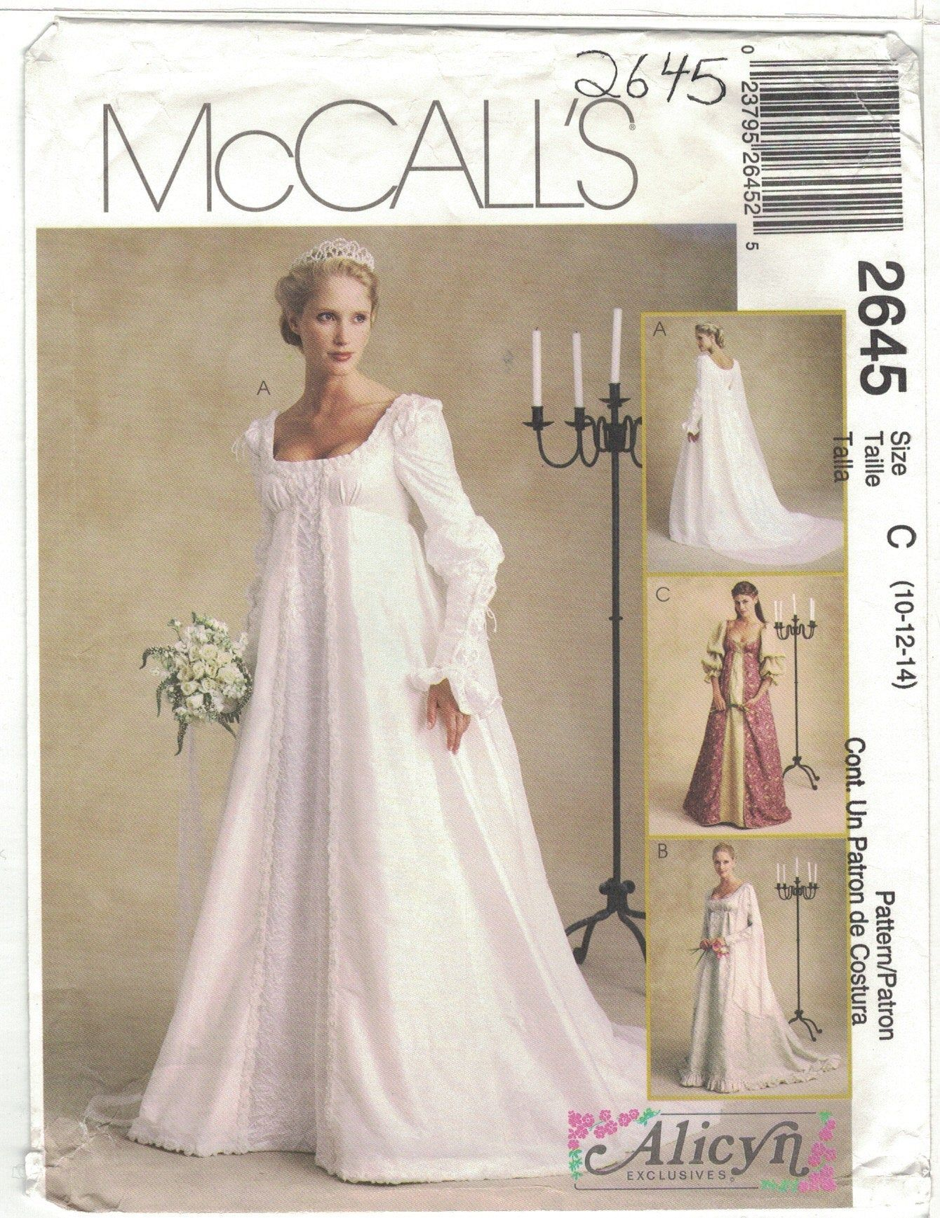 Mccall S 2645 Alicyn Renaissance Regency Cosplay Wedding Etsy Gown Pattern Empire Waist Wedding Dress Wedding Dress Patterns [ 1737 x 1340 Pixel ]