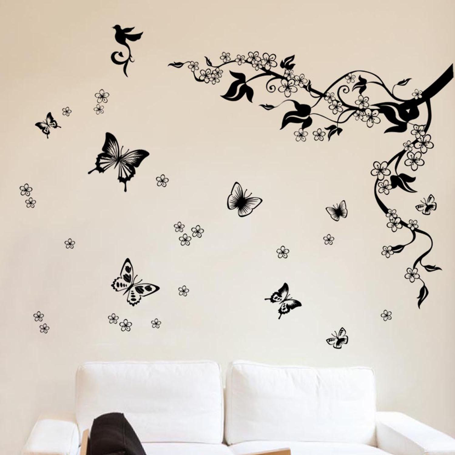 Walplus Removable Vinyl Dancing Butterflies And Tree Branch Wall