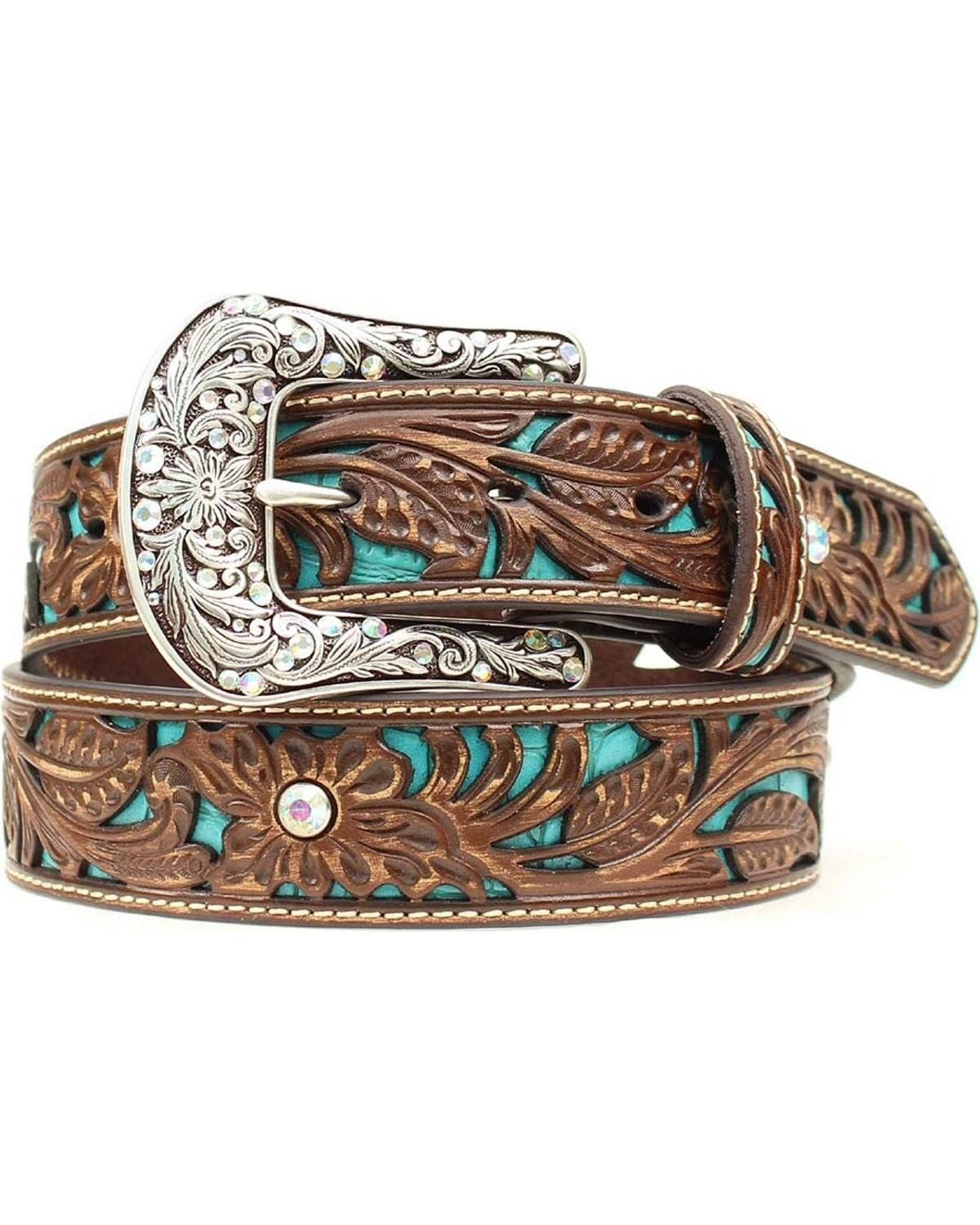 Ariat Women's Tooled Turquoise Leather Inlay Belt Brown X ...