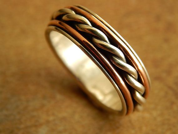 Rustic Silver Copper Artisan Wedding Band Made To Order Ring