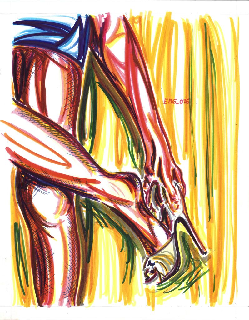 """Ve_Sve_Stirsi"", watercolor marking pen, 140lb/300gsm - 28x35.6cm paper, 2016 author: ernesto maria giuffre' #painting #pen #art #woman #feet #heels #strip #dress"