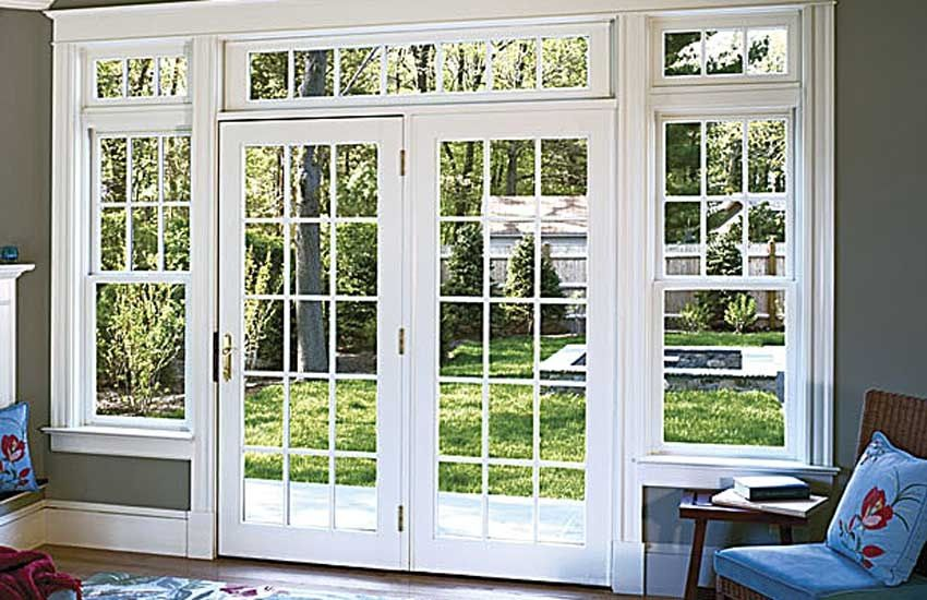 French Door White With The Grey Walls Very Good Contrast For