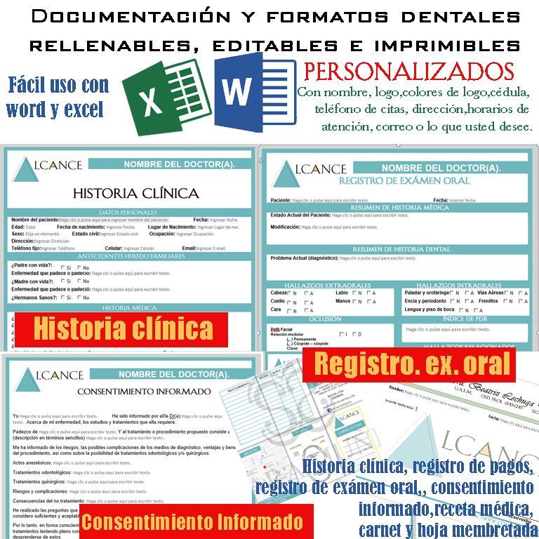 Formatos médicos dentales RELLENABLES, EDITABLES E IMPRIMIBLES