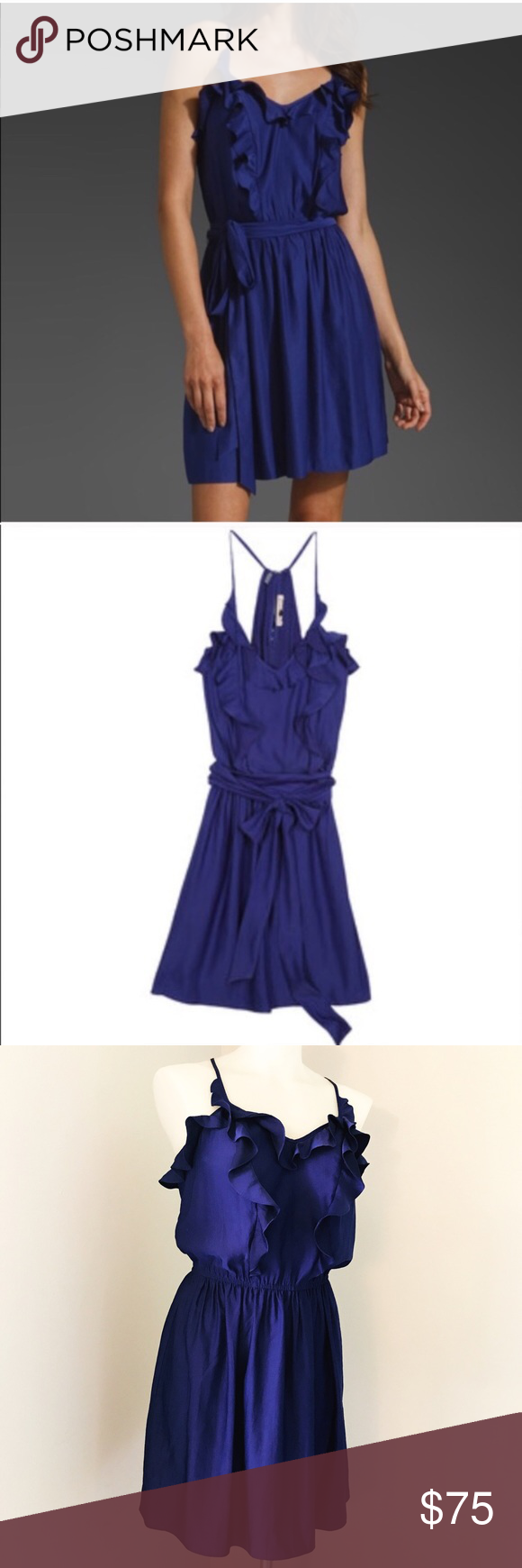 "Rebecca Taylor Indigo Ruffled V-Neck Sundress Excellent preowned condition, beautiful deep blue purple Sleeveless mini sundress with elastic waist.  Does not come with tie belt. Approximate measurements when laid flat: 13"" waist, 18"" bust, 36"" length. Rebecca Taylor Dresses Mini"
