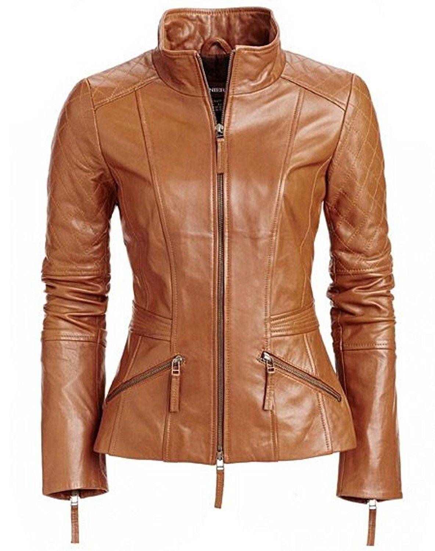 World Of Leather Women's Biker Moto Leather Jacket Cognac