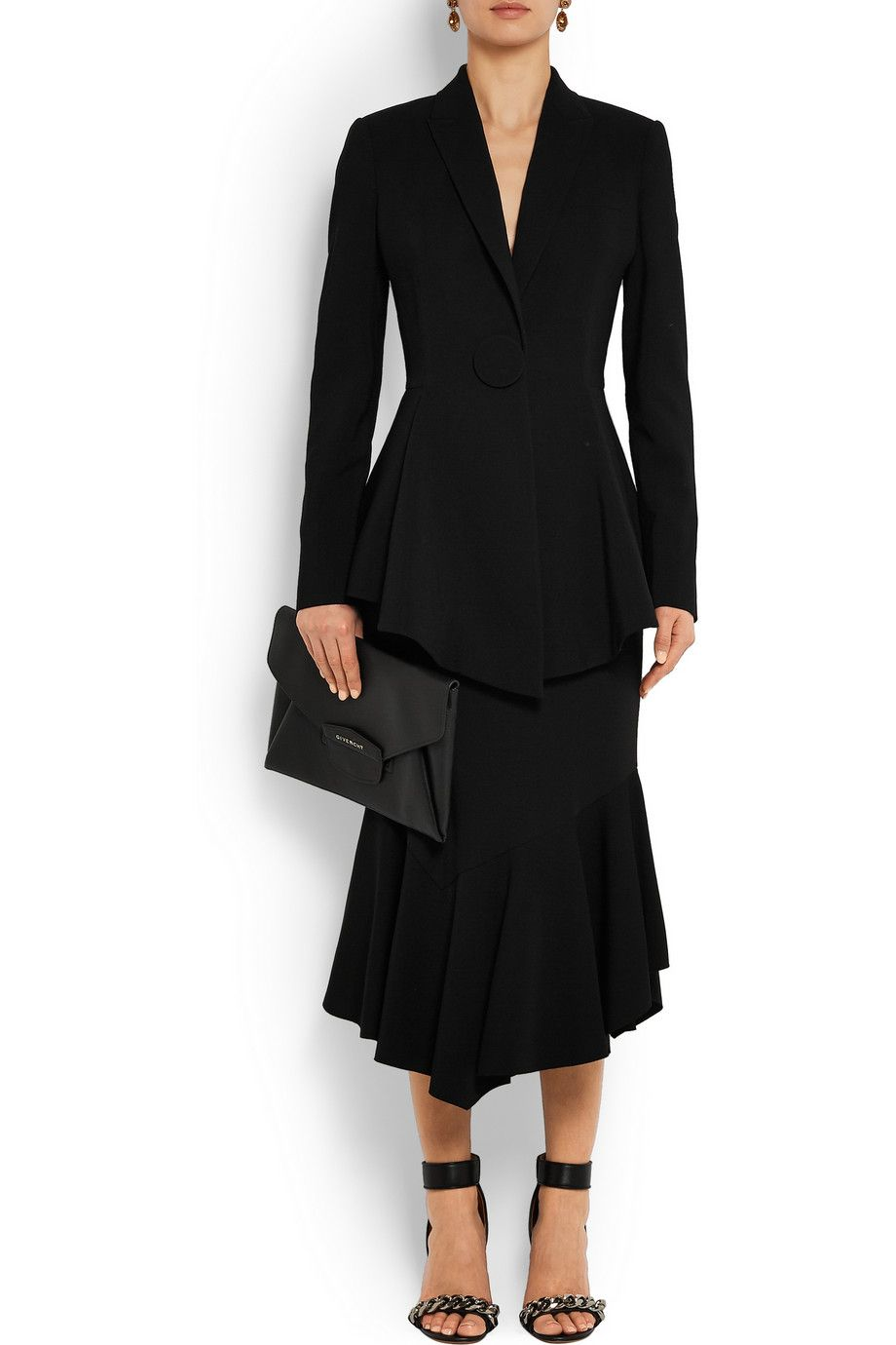 Givenchy | Peplum blazer in stretch-crepe & GIVENCHY Fluted midi skirt in black stretch-jersey | NET-A-PORTER.COM