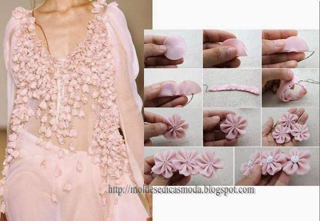 ARTE COM QUIANE - Paps, Moldes, E.V.A, Feltro e Costuras: Flor para aplicação em vestidos passo a passo