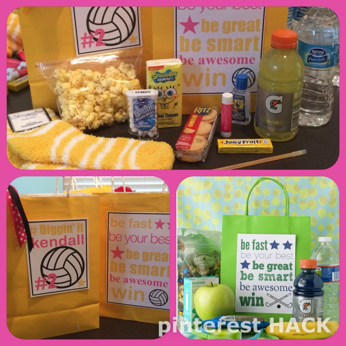 Volleyball Team Gift Bags Had To Hack This Cute Hockey Bag Ilovepinterest Volleyball Pinter Volleyball Team Gifts Volleyball Snacks Team Snacks