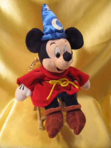 mickey mouse in valentine red robe blue wizard hat pointy shoes
