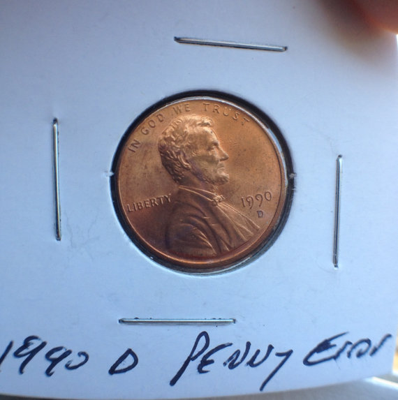 1990 D Lincoln Penny Date with Cud Error on Date Coin