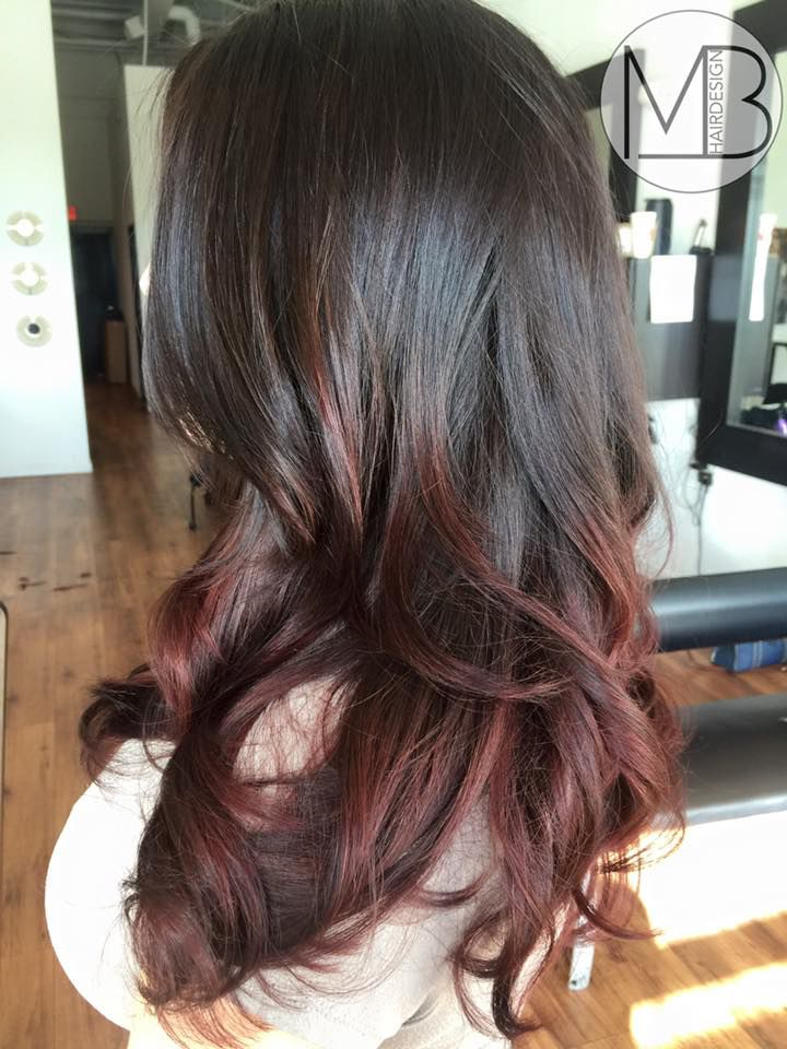 Deep chocolate brown melting into wine red hair design ...