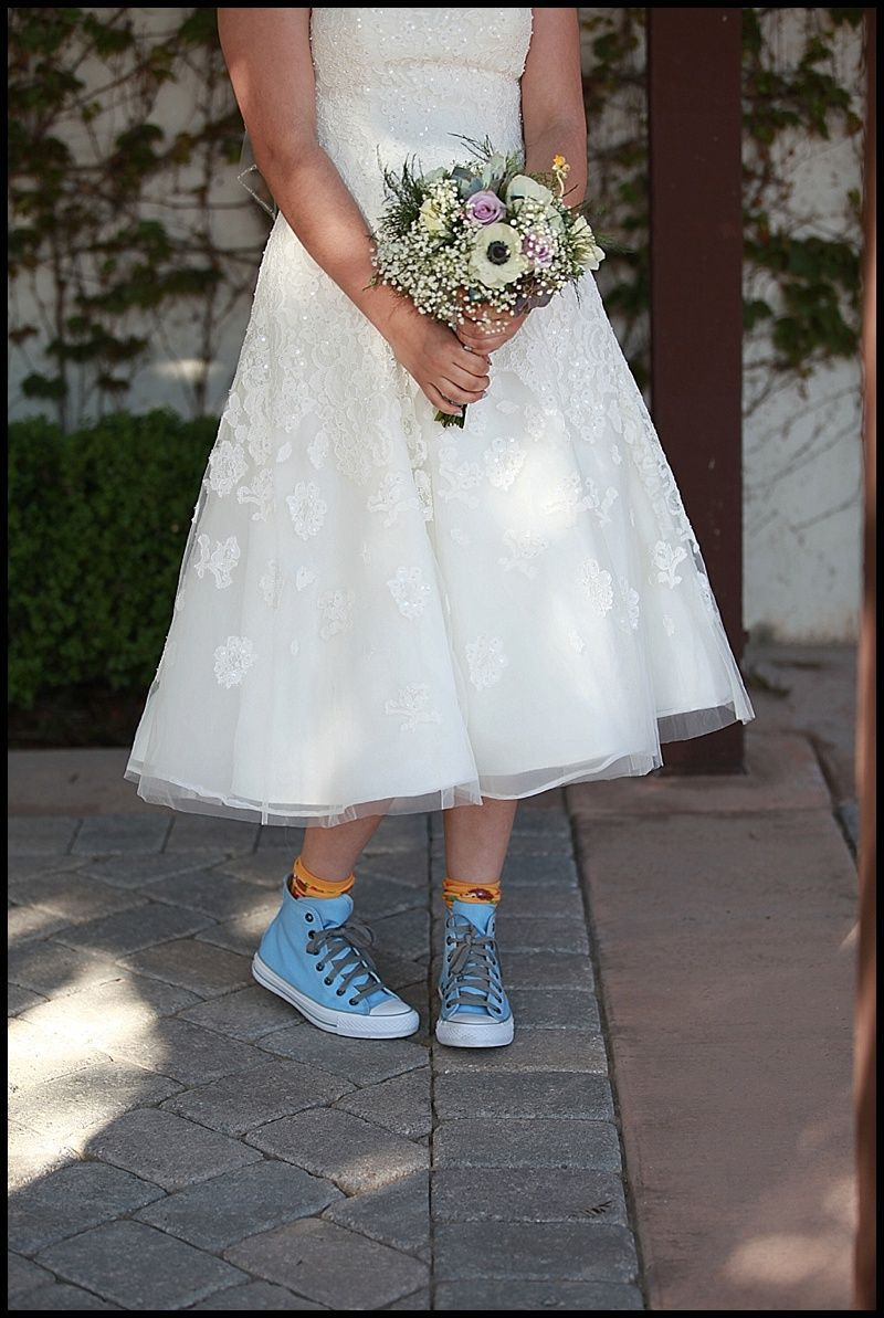 Blue Converse Wedding Shoes Blue Converse Short Wedding Dress Wedding Dress Blue Shoes Short Wedding Dress Short Bridal Gown [ 1193 x 800 Pixel ]