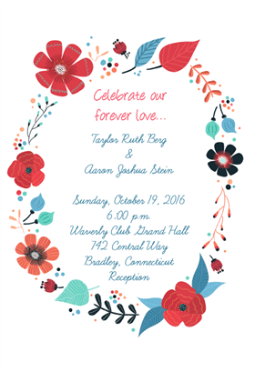 flower circle printable invitation template customize add text
