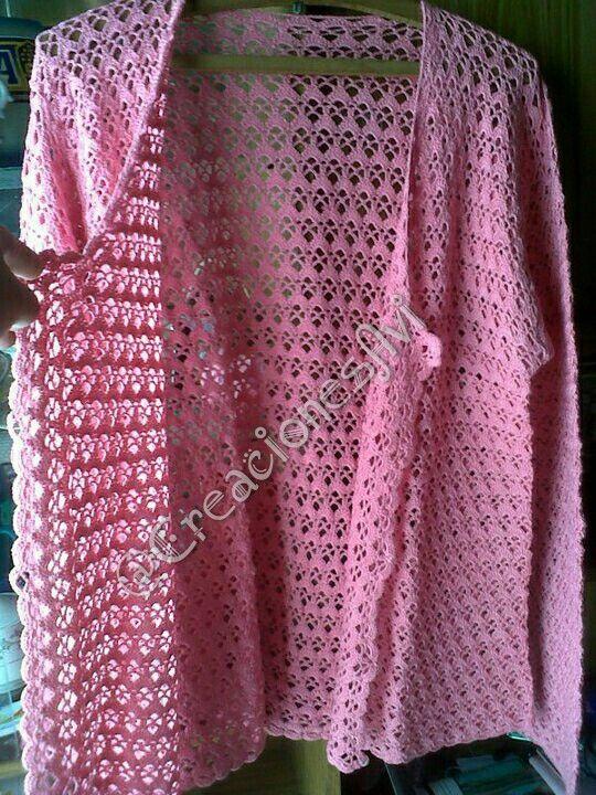Campera manga larga rosa al crochet