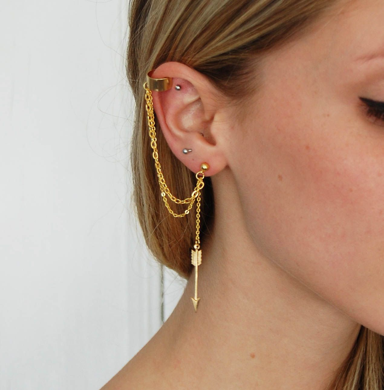 Gold Arrow Earring And Ear Cuff Accessorize