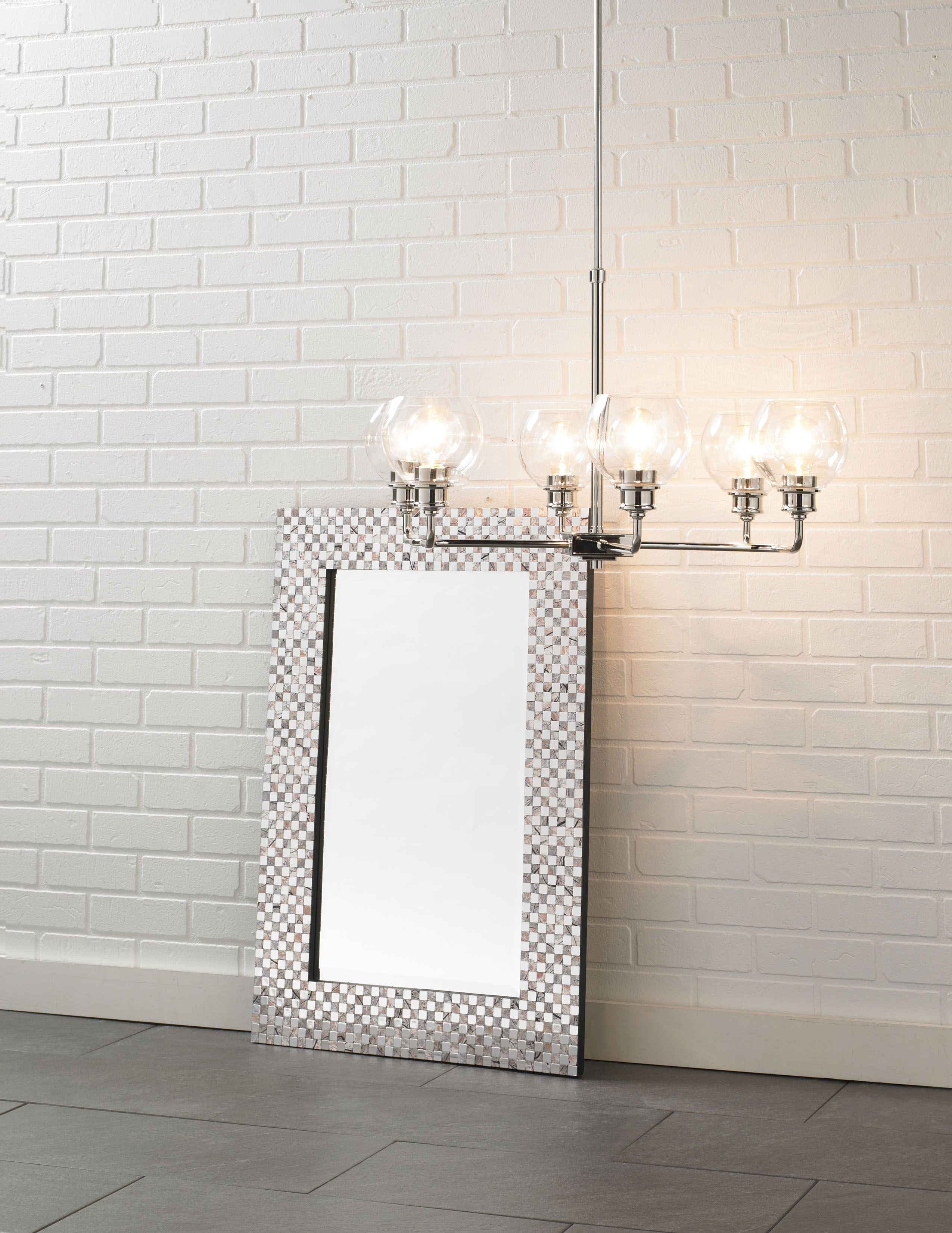 the mid century chandelier and mosaic mirror by capital lighting