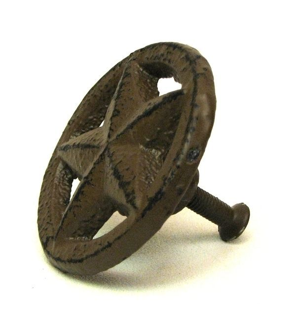 NEW RUSTIC WESTERN CAST IRON TEXAS STAR CIRCLE DRAWER HANDLE CABINET KNOB  DECOR #Unbranded