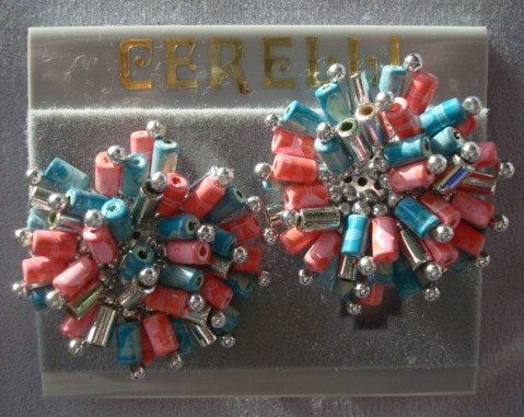 Great Pink Silver and Turquoise Beaded Vintage Cerelli Necklace and Earrings Set