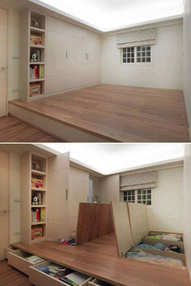 Awesome Storage Idea Should We Do One Bedroom Like This No Need Bed Just Put Mattress On Top Lol Home New Homes Small Spaces