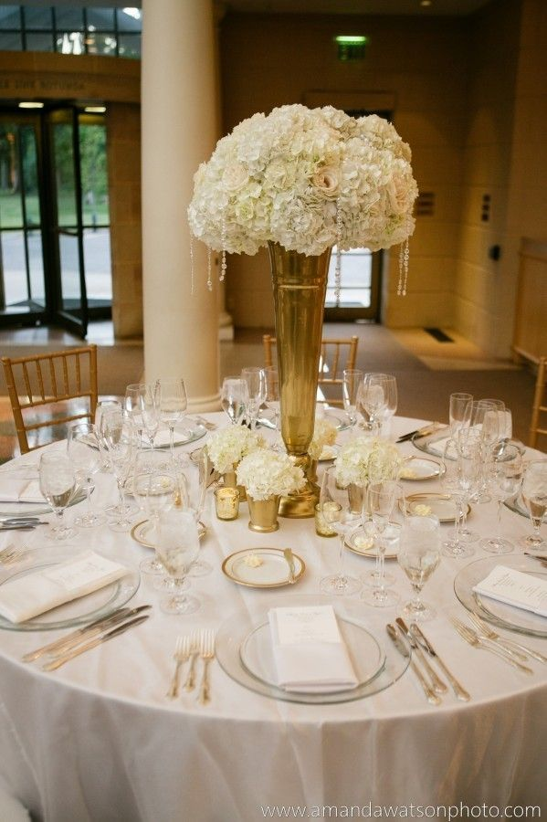 Gold vase wedding centerpiece google search