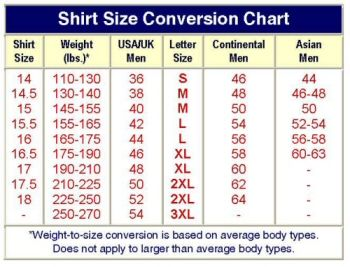 Men S Dress Shirt Size Chart If You Still Have A Question Regarding Sizes Please Contact Us