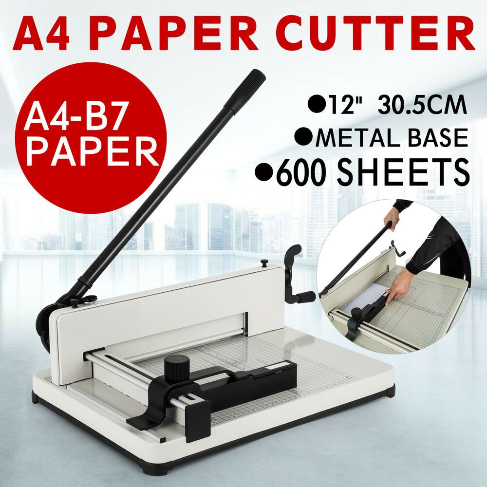 """HFS R Heavy Duty Guillotine Paper Cutter 12/"""" Commercial Steel A3//A4 Trimmer"""