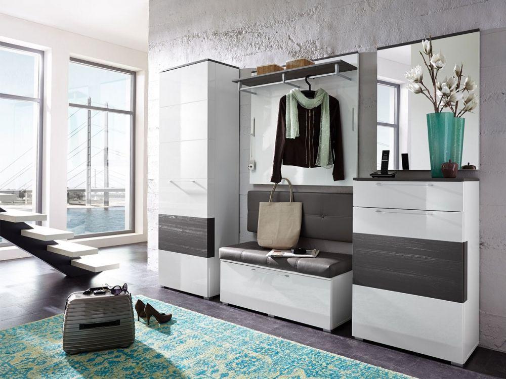 garderoben kombination rene weiss hochglanz weiss hg grau diele und flur pinterest. Black Bedroom Furniture Sets. Home Design Ideas