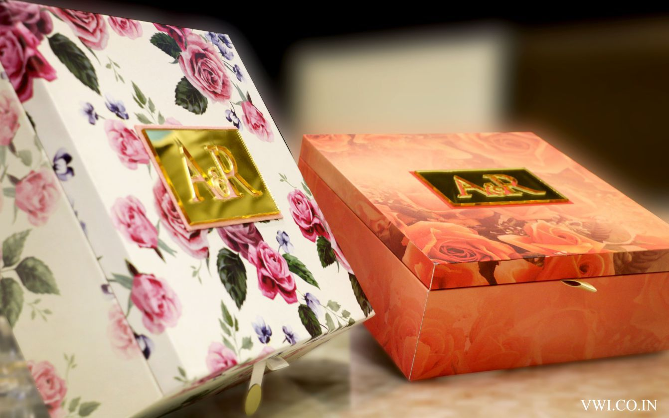 Floral print designer wedding box Indian