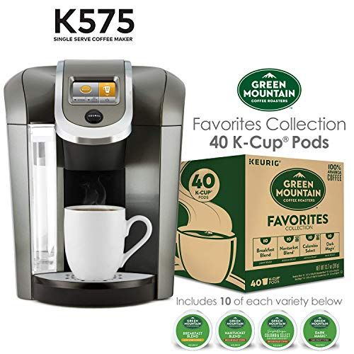 Keurig K575 Single Serve K Cup Pod Coffee Maker Platinum And Green
