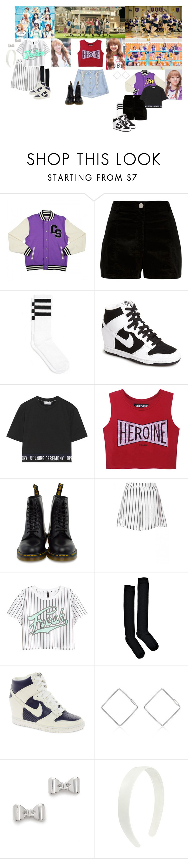 """""""Twice - Cheer Up MV"""" by jadapotterkpoplover ❤ liked on Polyvore featuring River Island, NIKE, Opening Ceremony, Dr. Martens, H&M, Boohoo, J.ESTINA and Marc by Marc Jacobs"""