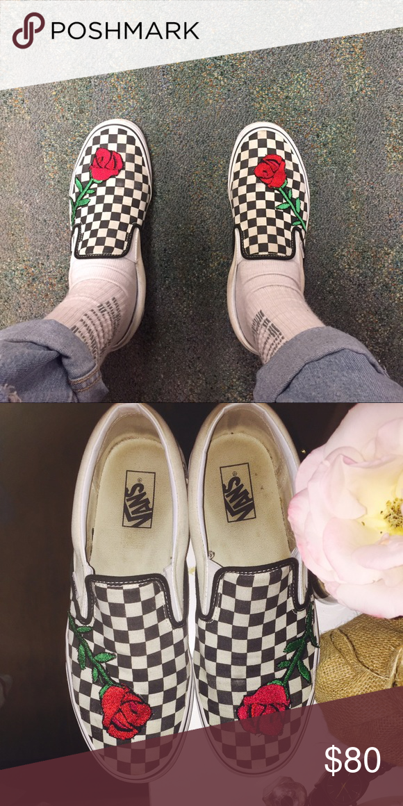 6fa65a4bd1a4 Custom Embroidered Checkered Vans Custom Embroidered Checkered Vans for  sale . These will come brand new with tags . Message for more details.