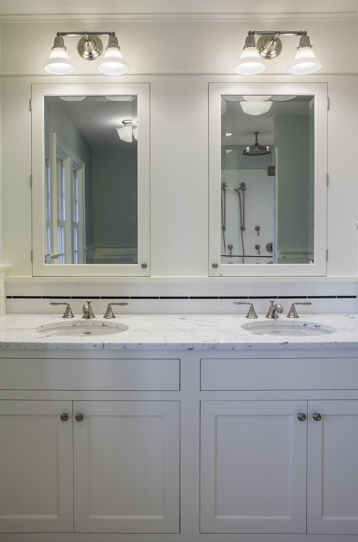 Bathroom remodel double vanity sinks built in medicine - Built in medicine cabinets in bathroom ...
