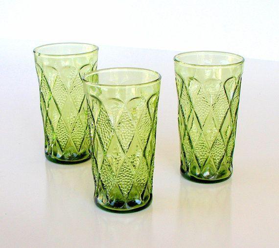 1960s Drinking Glass Vintage Anchor Hocking Gemstone Kimberly Avacado Green Tumblers Set Of Glassware Green Drinking Glasses Antique Glassware