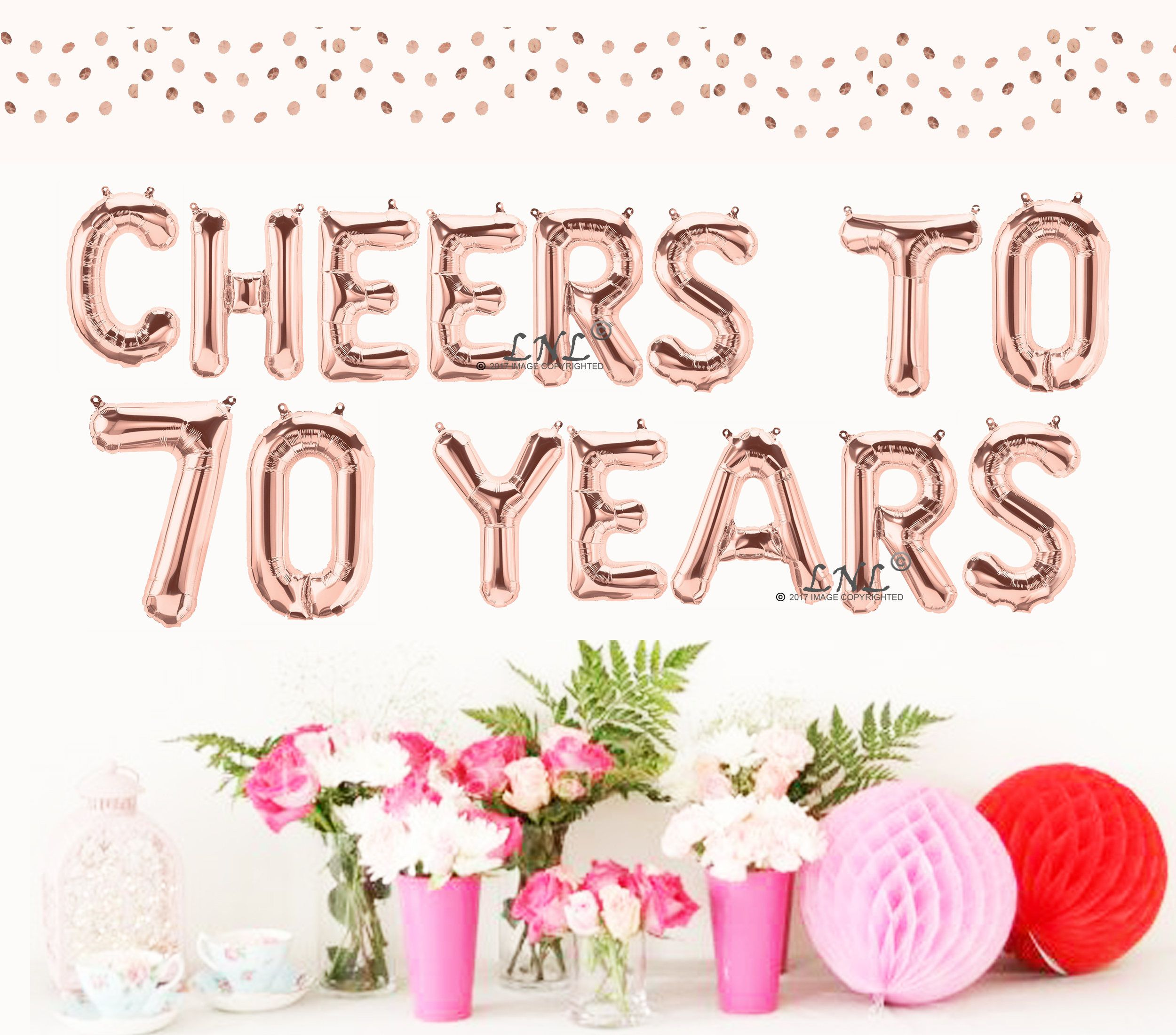 Cheers To 70 Years Rose Gold Balloons Gold Silver Mylar Foil