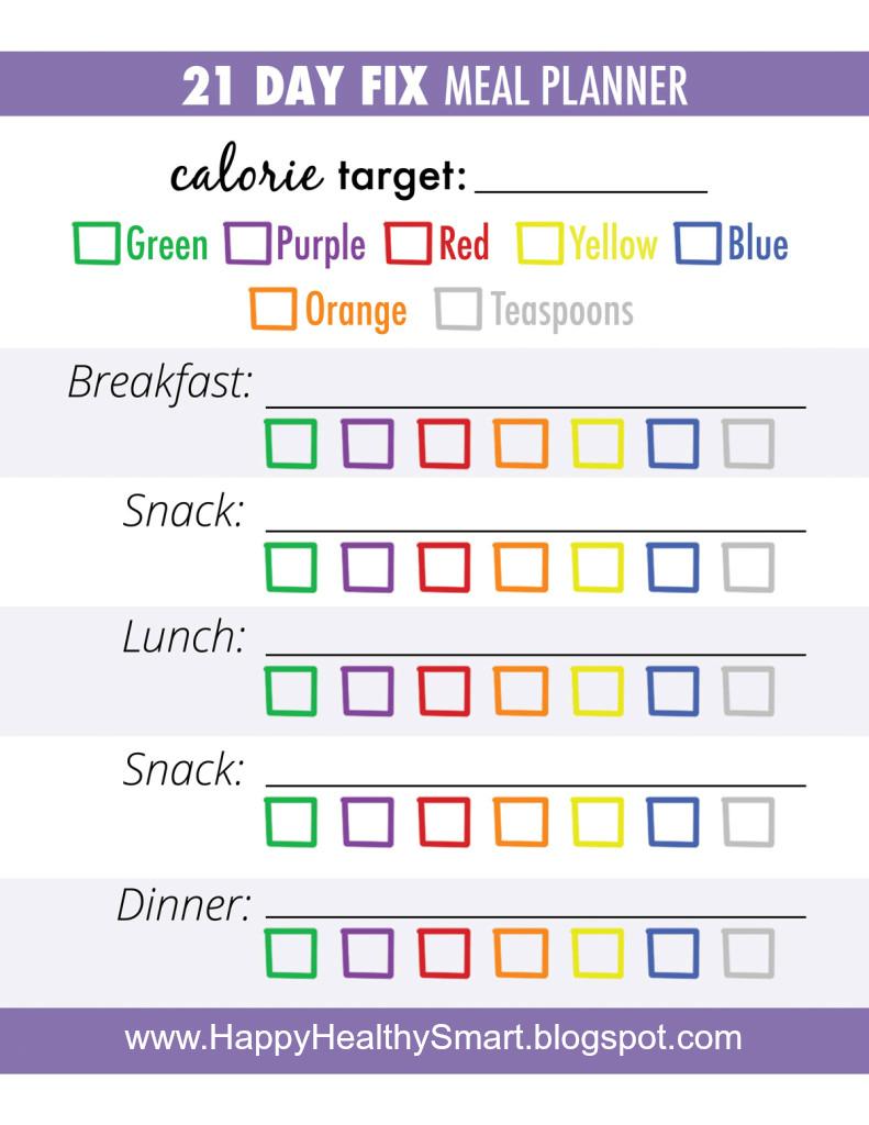 21 day fix meal planner meal trackermeal plan templatesplanner